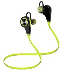 awesome Auriculares Deportivos, Tevina Auriculares Inalámbricos Hi-Fi Bluetooth 4.1 Deportivos In-ear con Micrófono Sonido Estéreo Manos Libres para iPhone, Huawei, Samsung, Sony, BQ, LG etc (Verde y Negro)