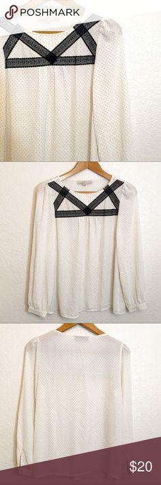 Loft polka dot blouse Loft sheer, polka dot blouse, size small petite, EUC. LOFT Tops Blouses