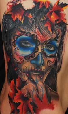 Finger biting day of the dead tattoo #TattooModels
