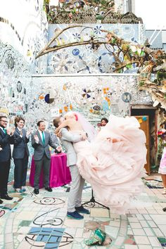 Incredible Queer Wedding at Philadelphia's Magic Gardens · Rock n Roll Bride