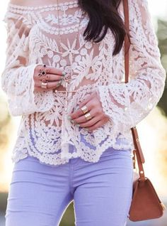Lilac + Lace - what a beautiful blouse - pants look a little tight, even for her.