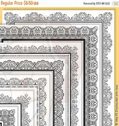 SALE 8x11 Certificate Border Frames VECTOR Clip Art Vintage Diplomas Award Document Lace Decorative Borders Digital Vertical Page Frames 100