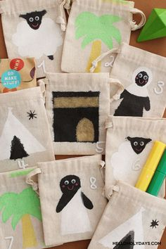 DIY Eid al Adha Countdown Calendar with Hello Holy Days! & Kid Made Modern Eid Al Fitr, Countdown Calendar, Fabric Bags, Craft Tutorials, Ramadan, Holi, Gift Wrapping, Projects, How To Make