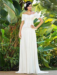 vaina / columna cariño tribunal tren gasa vestido de novia de encaje