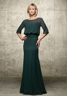 Green Chiffon Mermaid Bateau With A Wrap Mother of the Bride Dresses picture 1