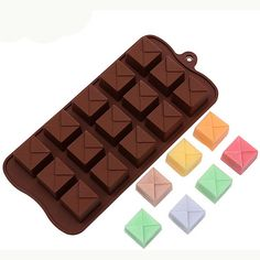 15 Square Silicone Break-Apart Chocolate, Protein and Energy Bar Mold, BPA Free