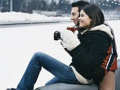 """Get on thin ice. Depending on the weather, head to an indoor or outdoor ice-skating rink — it's the perfect excuse to hold hands, """"accidentally"""" fall on top of each other, and grab a cup of hot chocolate and cozy up to each other to keep warm. Can you believe they dated? Look back at more than 15 years of celebrity couples!   - MarieClaire.com"""