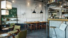 For Główna Osobowa Kitchen + Bar, PB Studio's main goal was to design an interior which would work equally well during daytime as well as late at night. Bar Restaurant, Restaurant Design, Cafe Shop, Cafe Bar, Italian Cafe, Deco Nature, Interior Design Images, Modern Loft, Rustic Table