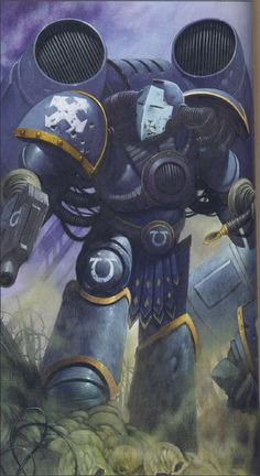 """""""The Sun hit low, and cast a fearsome blazing gleam upon the armor of my enemy, and I witnessed the blood of my friends splatte. Warhammer 40k Art, Warhammer Fantasy, Warhammer Games, Space Marine, The Horus Heresy, Future Soldier, The Grim, Geek Art, Cool Art"""