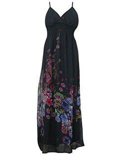 "Casual Dress Summer Elegant BoHO Maxi Floral Black Long Sundress (Chest:38""-40"") Mogul Interior http://www.amazon.com/dp/B00W37CD4O/ref=cm_sw_r_pi_dp_8bWxvb01TEMKD"
