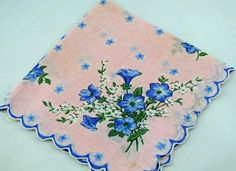 Beautiful Vintage Hankie, Pink With Blue Flowers,  Great For Gifting, Crafting Sewing Collage or for Use Lot P-7 - Two Broads and a Shop - 1