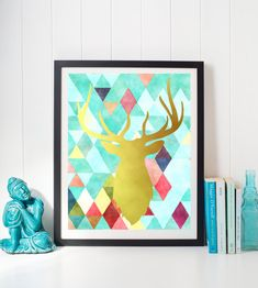 Deer geometric print, Watercolor deer, Digital Download, Printable Art, Wall Art Print, Home Decor, 8x10 Art Print, blue gold, dreamer art