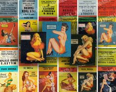 MATCHBOOK PIN-UPS - Collage Sheet - Retro Pin-Ups, Vintage Burlesque Girls & Kitsch Nudes from 1950s Advertising *its a pdf file .we can cut them out and glue them to the matchbooks!* $2.95