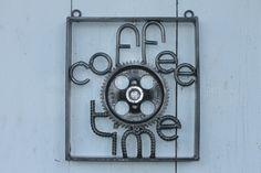 coffee time sign, man cave decor, rebar metal art, gear art by ReyesReclaimed on Etsy