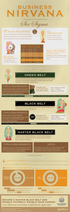This infographic presents the benefits of the Lean Six Sigma philosophy and the requirements to become a green, black, and master black belt in Lean Six Sigma