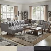 Shop for Danise Tufted Linen Upholstered Tuxedo Arm U-Shaped Sectional with Chaise by iNSPIRE Q Artisan. Get free delivery at Overstock - Your Online Furniture Shop! Get in rewards with Club O! Tufted Sectional Sofa, U Shaped Sectional, Black Sectional, Curved Sectional, Large Sectional, Sleeper Sofas, Living Room Sectional, Leather Sectional, Home Living