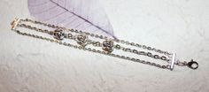 """Multi-Strand Metal Chain Link 7"""" Bracelet w/ 2-Sided 3D Smiling Buddha Head Charm Beads - Silvertone Color Finish"""