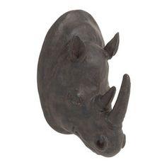 Benzara - Sleek and Modern Style Polystone Rhino Trophy Head Home Decor - Description:
