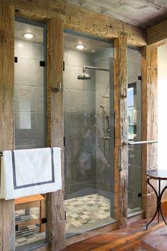 Cabin Bathrooms, Rustic Bathrooms, Dream Bathrooms, Rustic Bathroom Shower, Rustic Bathroom Designs, Bathroom Interior Design, Shower Remodel, Bath Remodel, Bathroom Renos