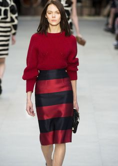 Red jumper and striped pen skirt, Burberry Prorsum
