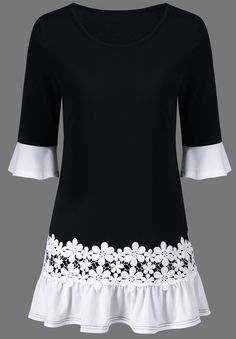 $15.89 Bell Sleeve Lace Panel Flounce Long Top - Black