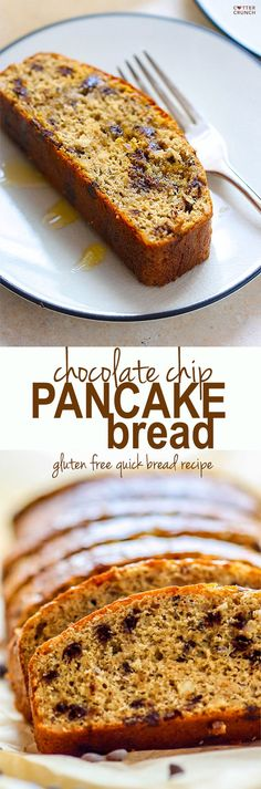 """Gluten Free Chocolate CHip pancake """"quick"""" bread. Super easy to make, healthy, great for desserts, breakfast at home or on the go. Easy to make Dairy free and always kid friendly!! #cottercrunch"""