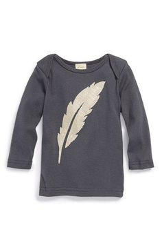 oh baby 'Gold Feather' Long Sleeve Cotton Top (Baby Girls) available at #Nordstrom