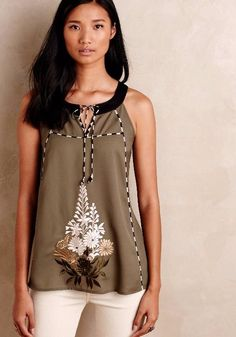 Annalise Embroidered Halter Top  | Pinned by topista.com
