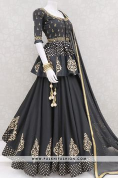 Palkhi fashion presents black cotton silk full flair chaniya choli with peplum blouse made with mirror work & embroidery work Black chiffon handwork dupatta Party Wear Indian Dresses, Designer Party Wear Dresses, Indian Gowns Dresses, Indian Bridal Outfits, Indian Fashion Dresses, Kurti Designs Party Wear, Dress Indian Style, Lehenga Designs, Indian Designer Outfits