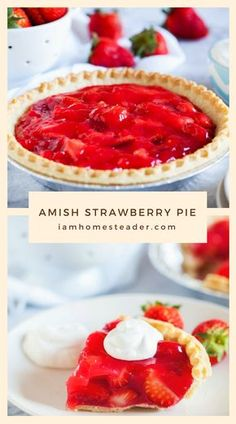 Strawberries are an Amish staple. Paired into a pie, with the perfectly light and flaky Amish pie cr Strawberry Pie, Strawberry Recipes, Refreshing Desserts, Delicious Desserts, Pie Dessert, Dessert Recipes, Pennsylvania Dutch Recipes, Pie Crust Recipes, Just Desserts