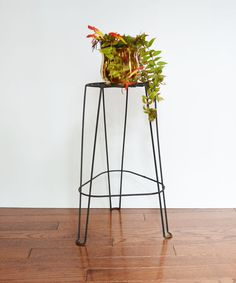 Mid Century Black Metal Plant Stand by TheVintageRoad2Retro