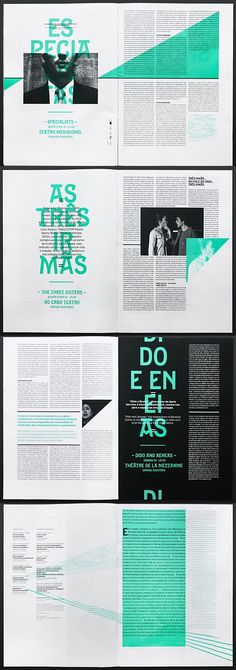 editorial layout Type as texture Design by Atelier Martino & Jaa for the Festivais Gil Vicente design and layout Editorial Design Layouts, Magazine Layout Design, Graphic Design Layouts, Book Design Layout, Print Layout, Magazine Layouts, Editorial Design Magazine, Newspaper Design Layout, Magazine Ideas