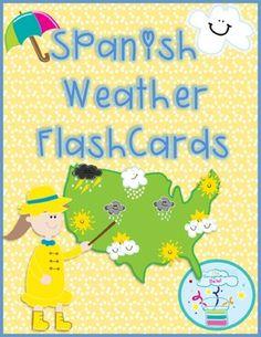 Spanish Weather Flashcards *Ready to Print*The set includes 24 color weather vocabulary flashcards in Spanish. They are ready to print and ready to use in your classroom!The set includes: soleado (sunny), parcialmente nublado (partly cloudy), lluvioso (rainy), nublado (cloudy), nevado (snowy), caliente (hot), frio (cold), tempestuoso (stormy), relampago (lightning), sol (sun), nube (cloud), gota de lluvia (raindrop), nieve (snow), arcoiris (rainbow), copo de nieve (snowflake), granizo…