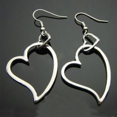 Fashion Silver Plated Double HoSwallow Out Heart Shaped Drop Earrings