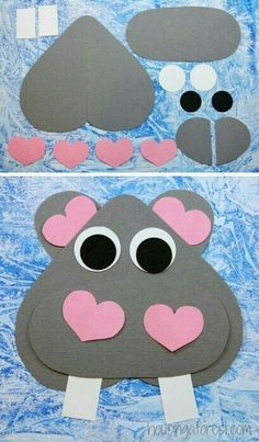 Heart Hippo ~ Valentines Craft for kids - Crafts for Toddlers Hippo Crafts, Valentine's Day Crafts For Kids, Valentine Crafts For Kids, Daycare Crafts, Classroom Crafts, Animal Crafts, Preschool Crafts, Projects For Kids, Holiday Crafts