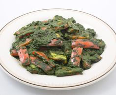 Indian Cheese and Red Peppers in Fragrant Spinach Sauce / CIA/Keith Ferris