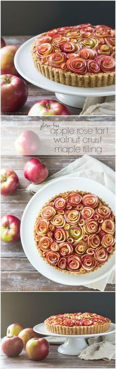 Apple Rose Tart with Maple Custard and Walnut Crust (Gluten Free)- Your guests will be wowed by this gorgeous apple tart of roses, with a toasty walnut crust and a silky sweet maple custard filling. And it's gluten-free! Tart Recipes, Apple Recipes, Sweet Recipes, Baking Recipes, Dessert Recipes, Mini Quiche Recipes, Baking Desserts, Whole30 Recipes, Egg Recipes
