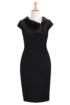 I <3 this Cowl collar with ties ponte dress from eShakti