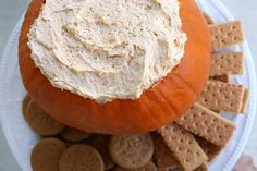 PUMPKIN FLUFF DIP - 1 container frozen whipped topping, 1 package instant vanilla pudding mix, 1 can solid pumpkin, 1 1/4 teaspoon pumpkin pie spice