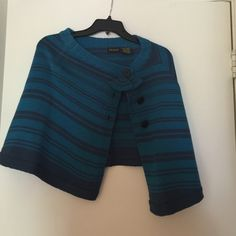 Adorable teal and navy shrug!  Fits nicely one size fits all Sweaters Shrugs & Ponchos