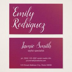 Minimalist Chic Magenta Business Card - chic design idea diy elegant beautiful stylish modern exclusive trendy