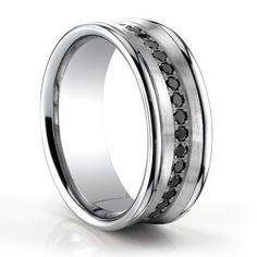 Concave Black Diamond 14K White Gold Mens Wedding Band #TitaniumJewelry