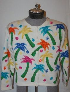 Design Options Sweater Palm Trees Large Cardigan White Button down NWT #DesignOptions #Cardigan
