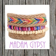 Fully adjustable, 4 individual bohemian style bracelet.    This bracelet is made with braided hemp, braided dyed hemp,    colored cotton string and white beads.    ONE SIZE    FREE DOMESTIC SHIPPING U.S.A. | Shop this product here: http://spreesy.com/Shopmadamgypsy/3 | Shop all of our products at http://spreesy.com/Shopmadamgypsy    | Pinterest selling powered by Spreesy.com