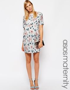 ASOS Maternity Wiggle Dress in Pastel Floral Print