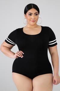 Plus Bodysuit GitiOnline Bodysuit Tops, Sheer Bodysuit, Striped Bodysuit, Curvy Girl Outfits, Plus Size Girls, Bodysuit Fashion, Curvy Women Fashion, Denim Top, How To Wear