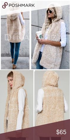 Preorder Comfy Cozy Hooded Vest with Pockets Preorder The Sierra Comfy Cozy Soft Open Front Faux Sherpa Vest.   Featuring a Hood, Pockets and an Open Front   Limited quantities available   Preorder Now & Will Ship Upon Arrival ETA: Dec 1st  Material: 100% Polyester Color: Blanched Almond Jackets & Coats Vests