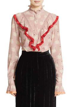 Stella McCartney Swan Print Ruffled Silk Blouse