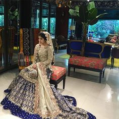 Ali Xeeshan signature bride in gharara Wedding Lehnga, Asian Wedding Dress, Pakistani Wedding Outfits, Blue Wedding Dresses, Bridal Outfits, Pakistani Dresses, Wedding Attire, Indian Dresses, Bridal Gowns