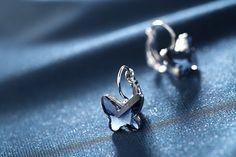 Tia Jewels Swarovski Elements Blue Metal Butterfly Hoop Earrings
